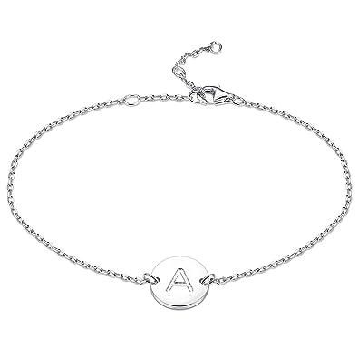 eb7b81e635 sailimue 925 Sterling Silver Bracelet (Letter A): Amazon.co.uk ...