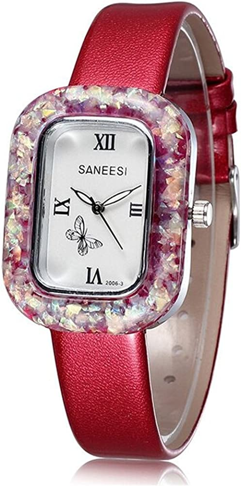 Astarspor Womens Unique Fashion Classic Casual Business Ladies Girl Sequin Butterfly Wristwatch Quartz Analog Watch Watches