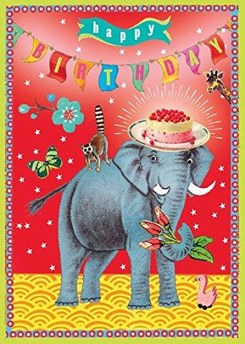 Go Wild On Your Birthday Happy Elephant Cake Greeting Card