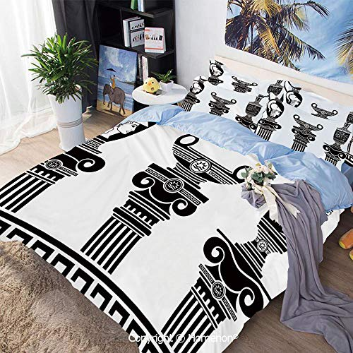 Home Fashion Designs 3-Piece Set,Set of Hellenic Vases and Ionic Columns Artistic Design Amphora Antiquity,Full Size,Include 1 Quilt Cover+2 Pillow case,Black and White