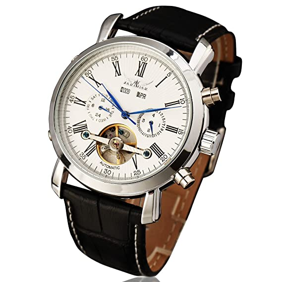 JARAGAR de los hombres reloj Casual Autoamtic Tourbillon Transparente Piel Genuino anglog Steampunk reloj de pulsera
