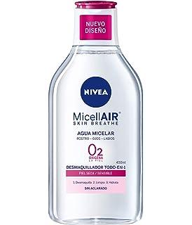 NIVEA MicellAir Skin Breathe, agua micelar desmaquillante, desmaquillador de ojos, rostro y labios