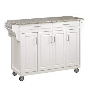 Create-a-Cart White 4 Door Cabinet Kitchen Cart with Gray Granite Top by Home Styles