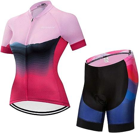 HAOHOAWU Ciclismo Jersey Camisa Acolchada Desgaste Fijan, Mujeres Camiseta De Ciclismo Jersey Manga Corta Transpirable Bicicleta Completa De La Cremallera Rápida Ropa Seca,Pink,XL: Amazon.es: Deportes y aire libre