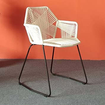Amazon Com Bar Stool Wyzqq Hand Woven Wicker Chair Wrought Iron Office Reception Kitchen Counter Outdoor Dining Ergonomic Backrest White Yellow Black Furniture Decor