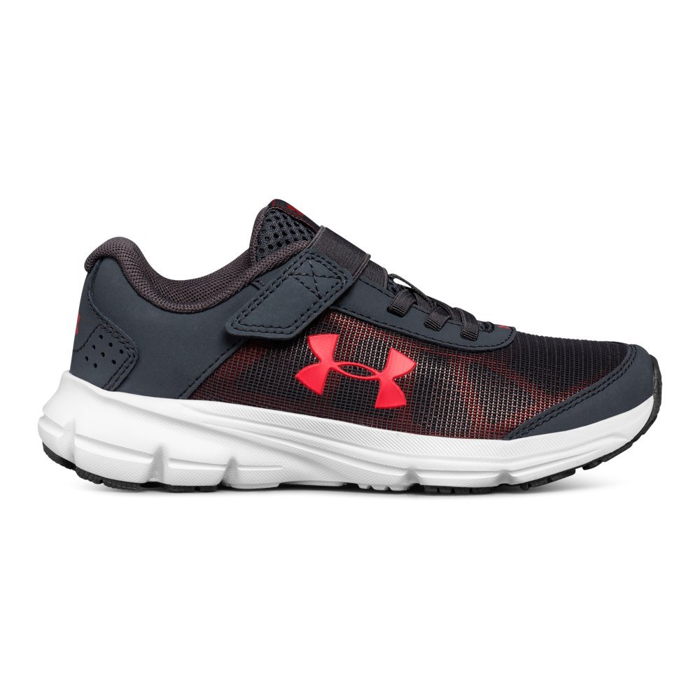 Under Armour Boys' Pre School Rave 2 Adjustable Closure Sneaker, Stealth Gray (100)/Red, 12K by Under Armour (Image #1)