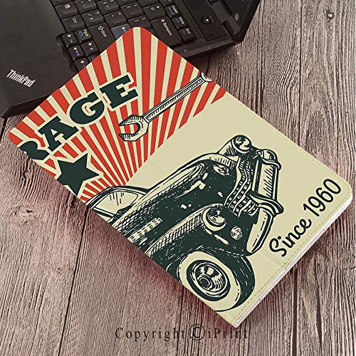 Samsung Tab S3 9.7 SM-T820 SM-T825 Tablet Case Protective Cover Crystal Case,Cars,Retro Car and Garage Advertising Poster Style Picture with Grunge Effects 1960s Theme,Grey Beige