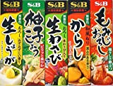 Assortment of Japanese Seasoning Wasabi(grated raw wasabi),Karashi,Citron Pepper,Momizi Oroshi(grated daikon and pepper),Grated Ginger