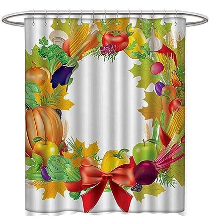 Starodet Harvest Shower Curtains Waterproof Healhy Dinner Ingredients Wreath Red Bowknot Fresh Organic Options Bathroom