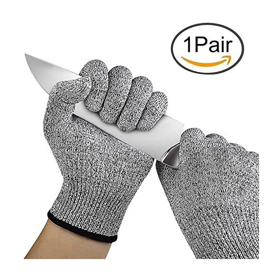 Iktu 1 Pair Cut Resistant Gloves, High Performance Level 5 Protection, Food Grade Kitchen Glove for Hand Safety while Cutting, Cooking, doing Yard Work (Free Size) 1