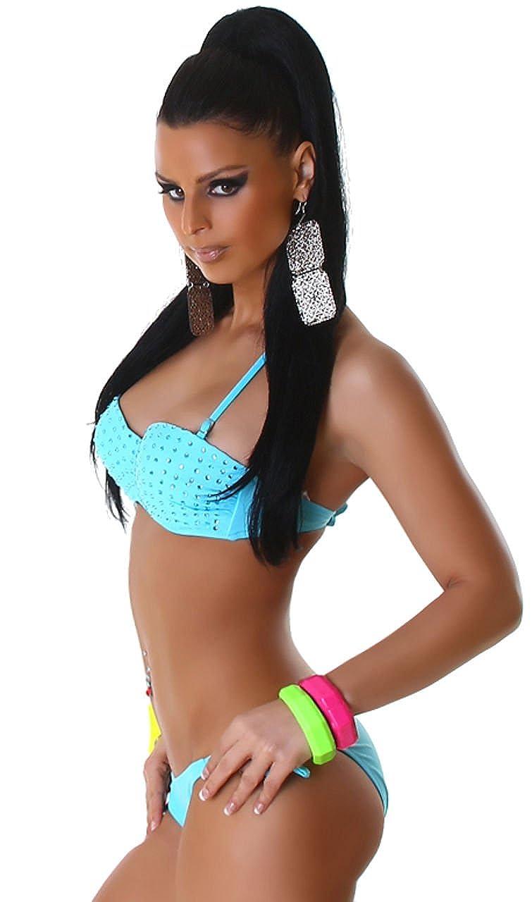 P.F. Damen Bandeau-Bustier-Bikini mit Strasssteinen verziert, mint Größe 36  38  Amazon.de  Bekleidung 8085beeb63