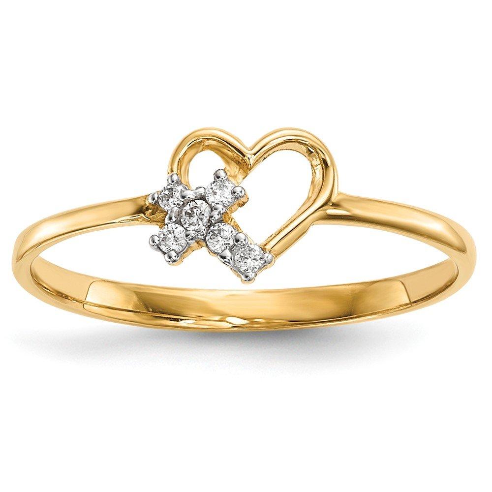 14k Heart w//CZ Cross Ring Size 7 Length Width