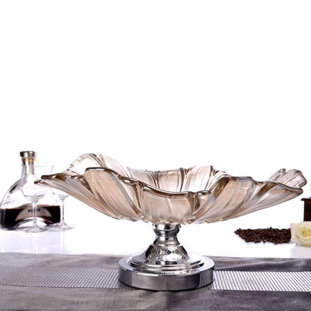 Fruit Bowl Glass Bowl Table Centrepiece High Foot Fruit Bowl Creative Living Room Large Glass Bowl Tea Several Personality Decorative Bowls (Color : BROWN, Size : 4021CM) by GQQ (Image #5)