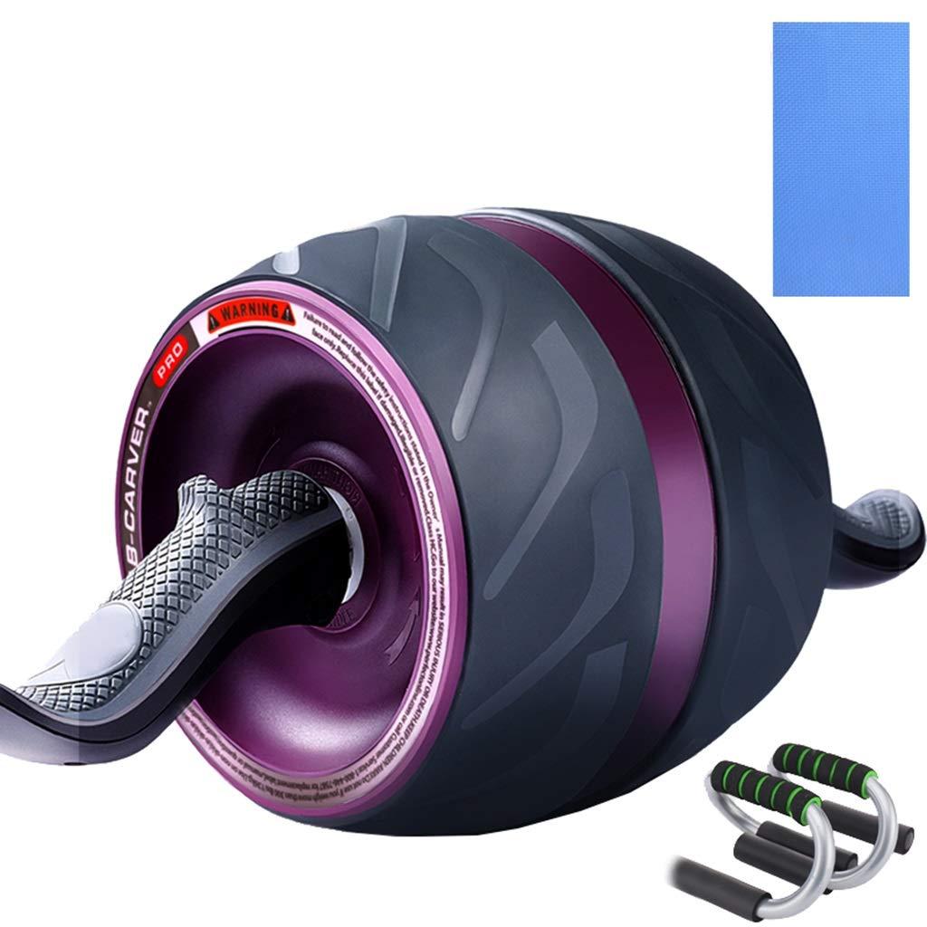 リバウンド腹部の男性の腹部の筋肉のベストフィットネスフィットネスの家の女性のトレーニング腹部の筋肉ローラーの腹の初心者 (色 : Purple+kneeling pad+push ups)  Purple+kneeling pad+push ups B07JQM8M5V