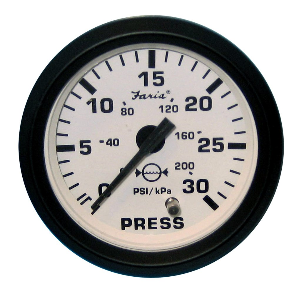 Faria Euro White 2' Water Pressure Gauge Kit - 30 PSI (54711) Faria Beede Instruments 30603514
