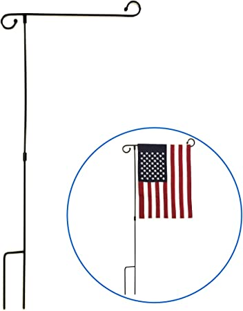 Ground 34 In New Small Garden Flag Pole Black Gift Outdoor Tall Decor Home