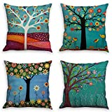 Throw Pillow Covers Natural Pattern Decorative Pillowcases 18x18inch (4 pieces set) Pillow Cases Home Car Decorative (Trees and birds)