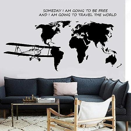 Mapa del Mundo Tatuajes de Pared Cita de avión Algún día voy a ...