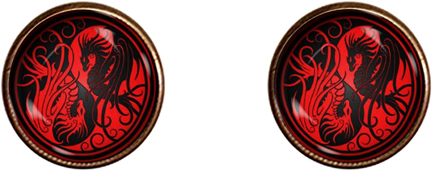 Chaoticfashion Dragon Yin and Yang Cufflinks 16mm Handmade Game of Thrones Pendant Jewelry