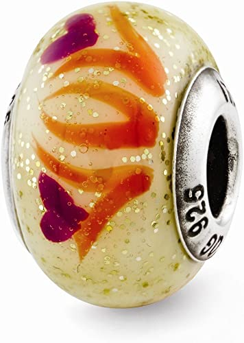 Jewelry Beads Glass Beads Sterling Silver Reflections Yellowith Gold//Red Italian Murano Bead