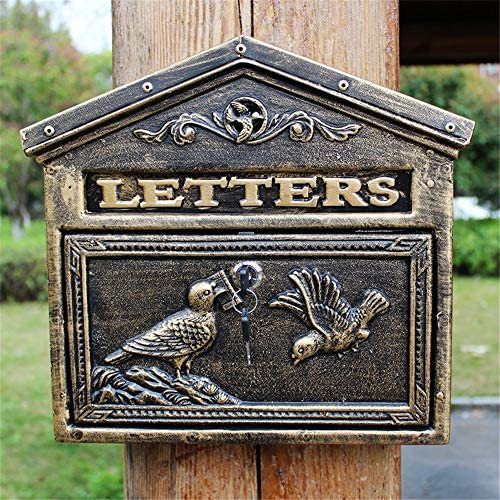 メールボックス 屋外の中庭レターボックスウォールポストボックスの文字スタンプ新聞レトロなメールボックスを持つロック 手紙を受け取るため (Color : Bronze, Size : 34.5x31.7x8.5cm)