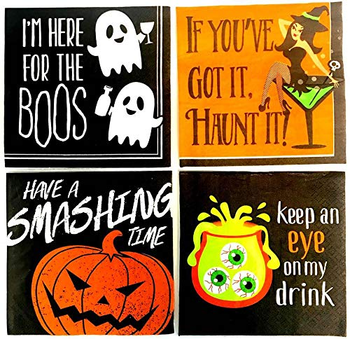 Funny Halloween Cocktail/Beverage Napkins - 4 Pack Bundle, 112 Napkins Total