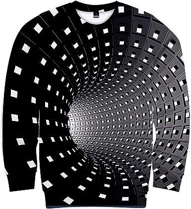 Camisetas Hombre Manga Larga Camisas Casual para Hombre Camisetas para Hombre vórtice 3D Camiseta de Manga Larga para Hombre Camiseta de Verano con Cuello Redondo y Estampado Impresas 3D: Amazon.es: Ropa y