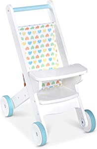 Melissa & Doug Mine to Love Wooden Play Stroller for Dolls, Stuffed Animals - White