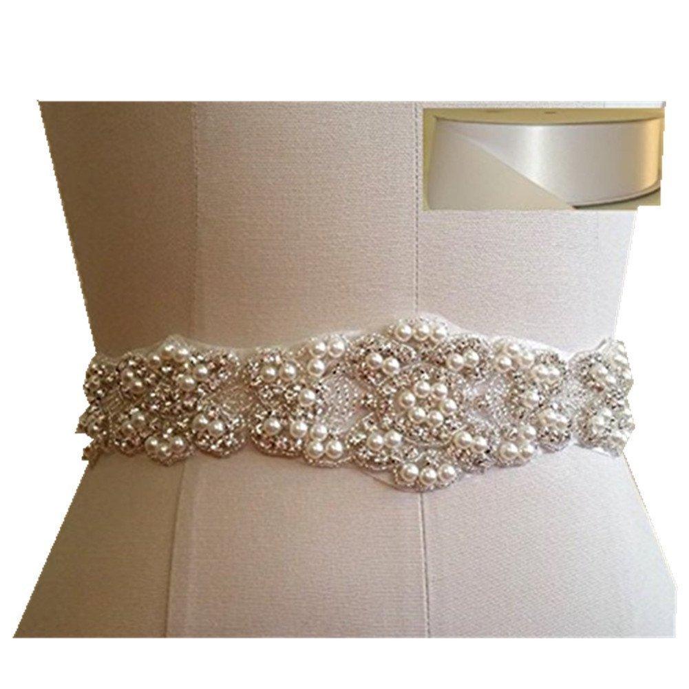 TRLYC Cinta transparente con piedras brillantes, para boda rosa Rosa