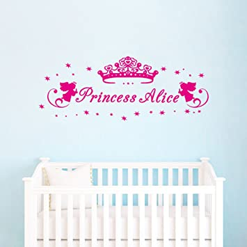 Amazon.com: DecalMile Personalized Custom Name Wall Decals Princess ...