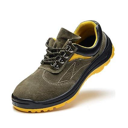 Adong Mens Trabajo Seguridad Zapatos Transpirable Choque absorción punción Prueba Acero Puntera para policía Militar Carretera