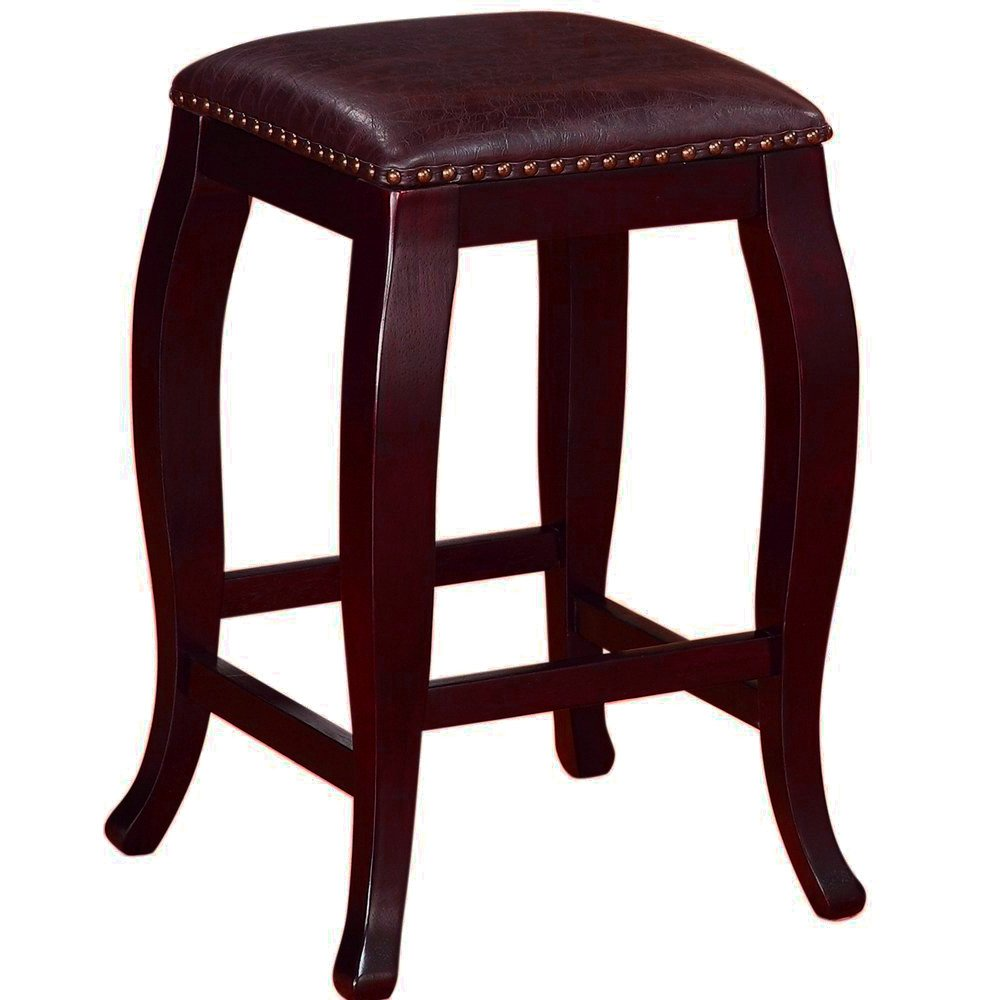 Curved Wooden Stool with Tufted Seat Upholstered Padded Leather Cushion Bar Counter Stool Small Square Antique Brown 14 Inch Stool eBook by Easy&FunDeals by EFD