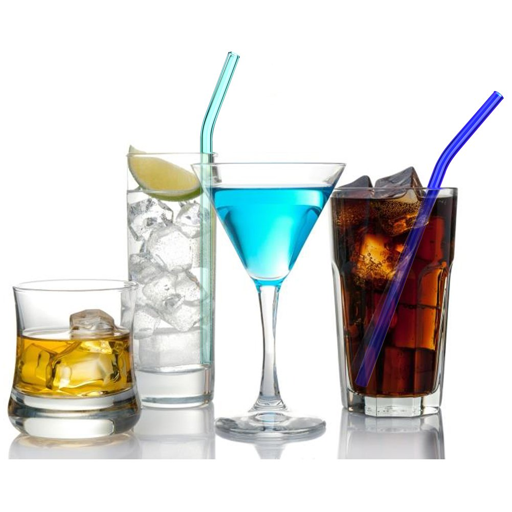 Reusable Bent Glass Drinking Straws, Cleaning Brushes,Shatter Resistant,BPA Free, Non-Toxic, Eco-Friendly