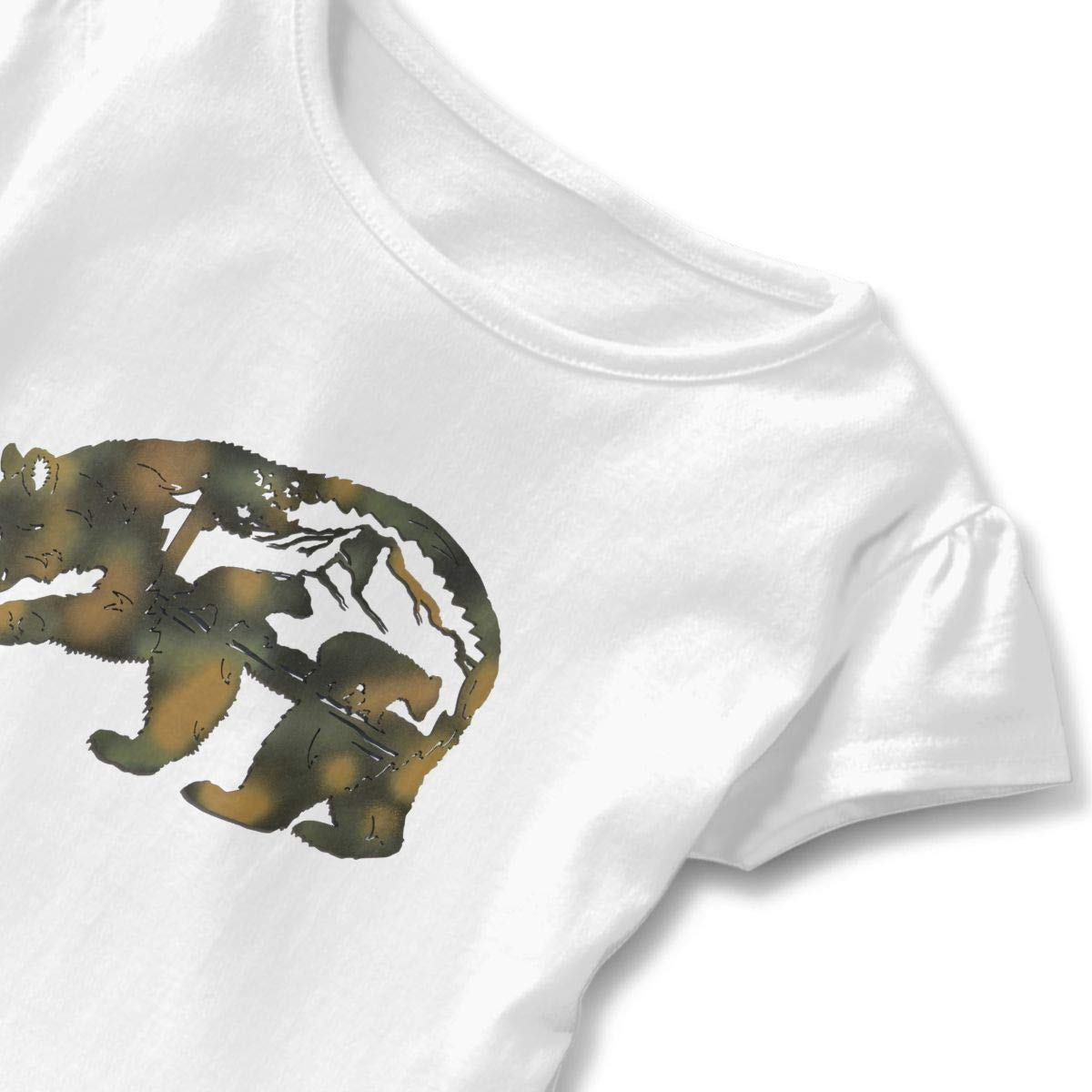 Cabin Following Mama Bear Cute Adorable Printed Patterns Basic Ruffle Tee Shirts with Short Sleeves and O-Neck for Daily Party School Outside Playing White