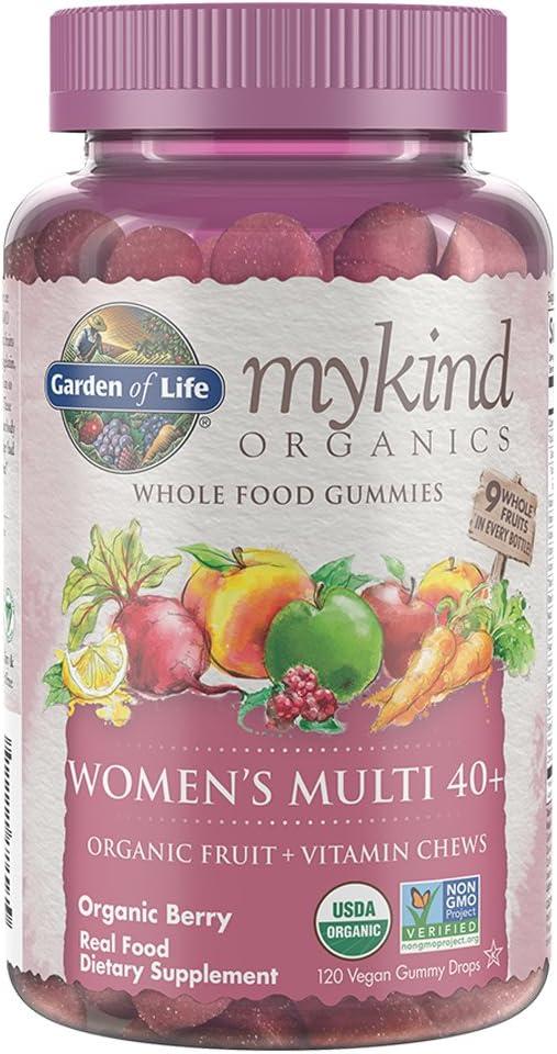 Garden of Life - mykind Organics Women 40+ Gummy Vitamins - Berry - Certified Organic, Non-GMO, Vegan, Kosher Complete Multi - Methyl B12, C & D3 - Gluten, Soy & Dairy Free - 120 Real Fruit Gummies