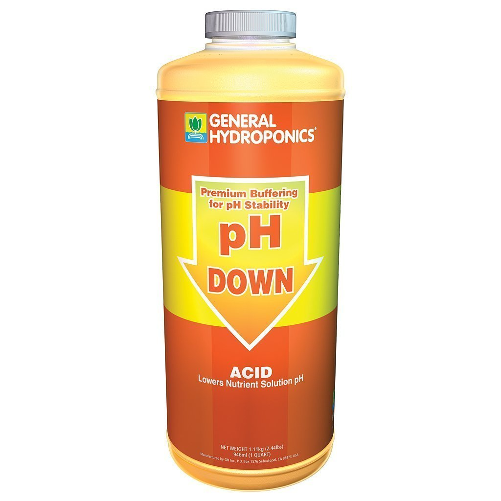 General Hydroponics pH Down Liquid Fertilizer, 1-Quart