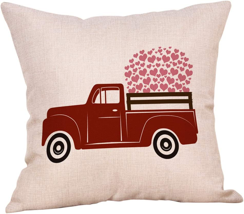 """Softxpp Valentine's Day Sign Vintage Red Truck with Hearts Throw Pillow Cover Rustic Farmhouse Decor Anniversary Lover Gift Cushion Case Decorative for Sofa Couch 18"""" x 18"""" Inch Cotton Linen"""