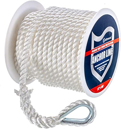 1//2 Inch x 100 Ft Premium Three Strand Twisted Nylon Anchor Line for Boats