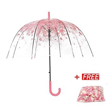 30aa5f838e1e Tdogs Clear Bubble Umbrella Dome with 100 Pcs Romantic Flowers,Cherry  Blossoms Transparent Rain Umbrellas for Kids Girls Weddings,  Transparent/pink