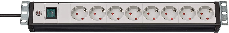 Brennenstuhl Premium-Line, Steckdosenleiste 8-fach - 19' Format ideal fü r Serverschrä nke (mit Schalter und 3m Kabel) Farbe: lichtgrau / schwarz 1156057018
