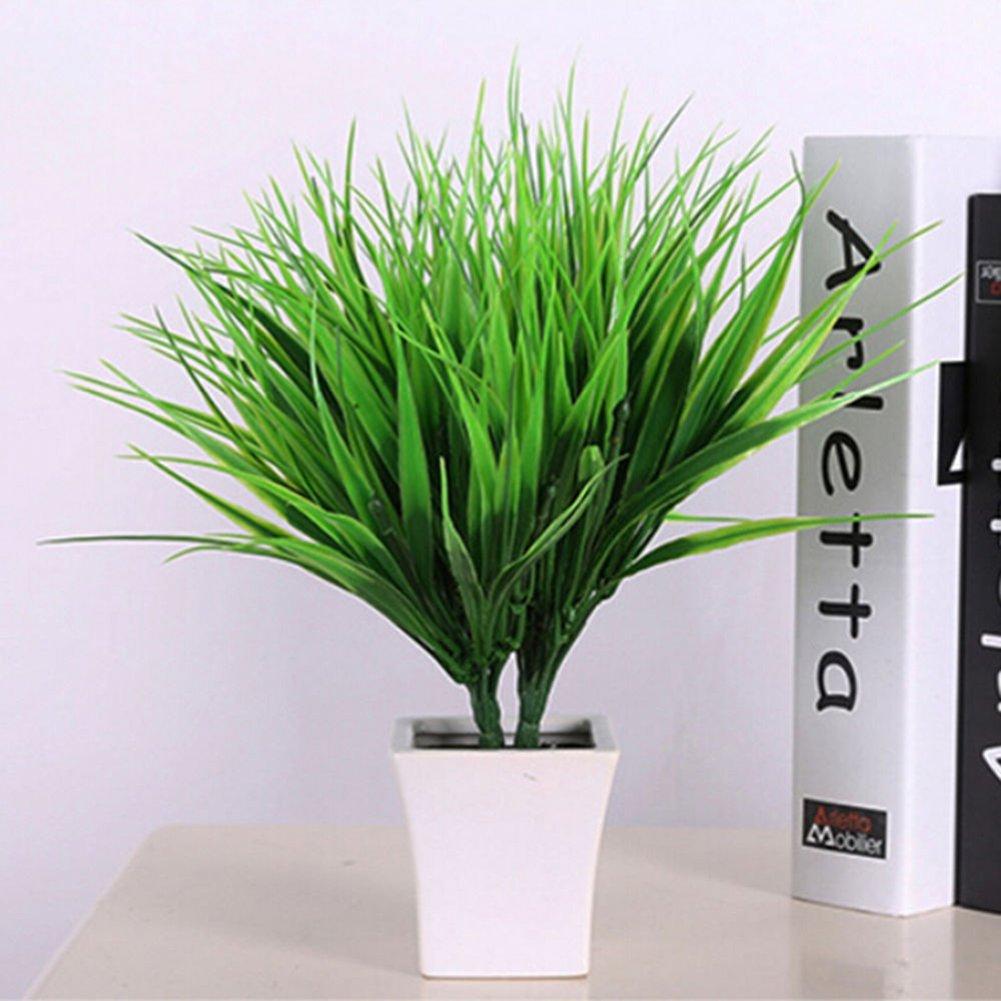 Momongel Artificial Fake Plastic Green Grass Plant Flowers Office Home Garden Decor