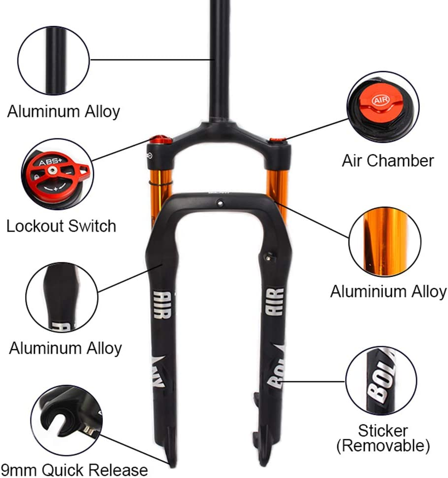 "LUTU Fat Bike Suspension Fork 26*4.0/"" Tire Disc Brake Snow Mountain Bike Forks"