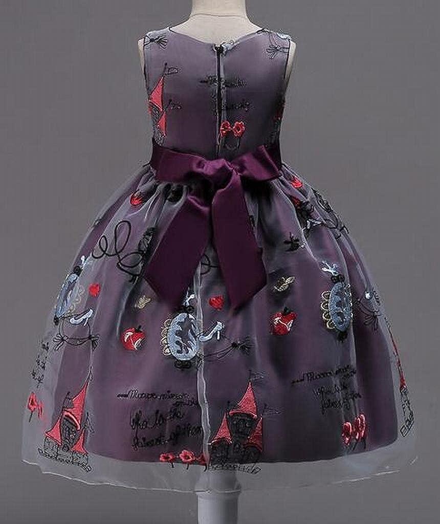WAWAYA Girls Mesh Embroidery A-Line Sleeveless Wedding Party Pageant Formal Dress
