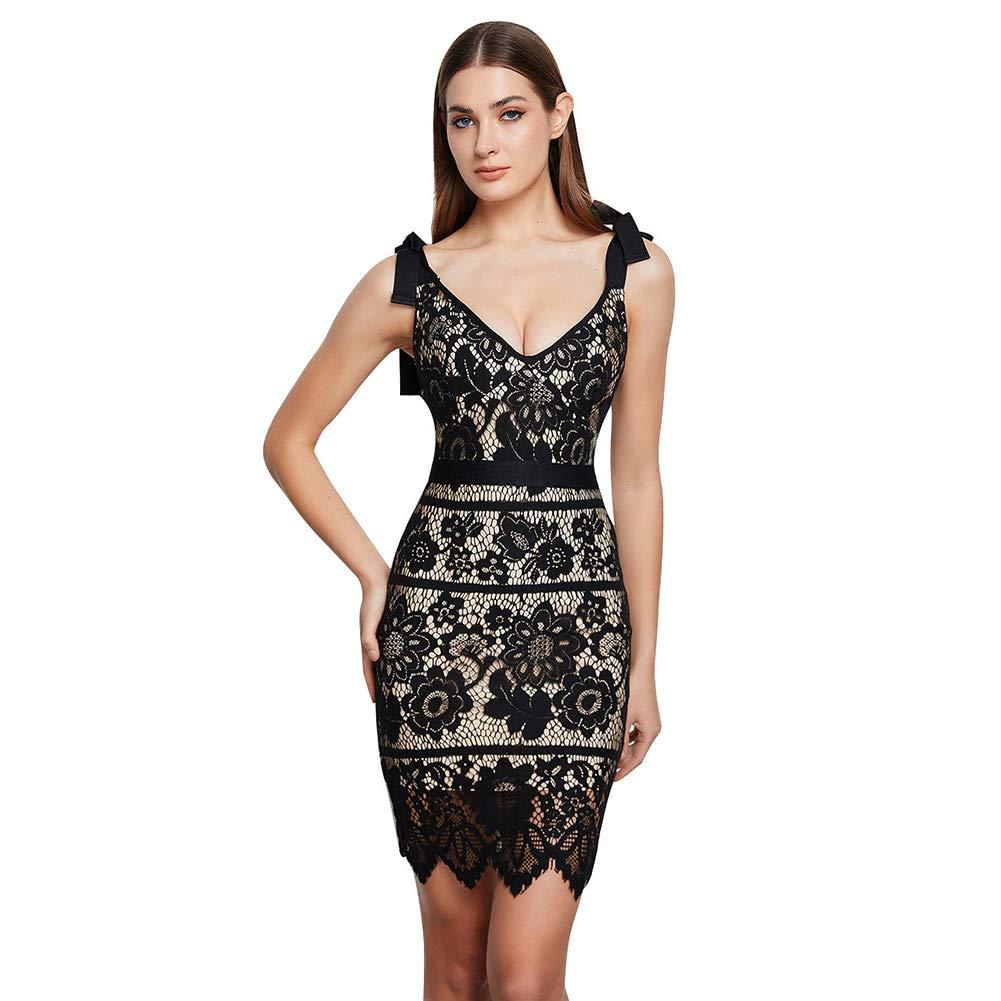 Lovelychica Sexy Dress for Women Sleeveless v Neck Shoulder tie Bodycon Party Mini Dress Black