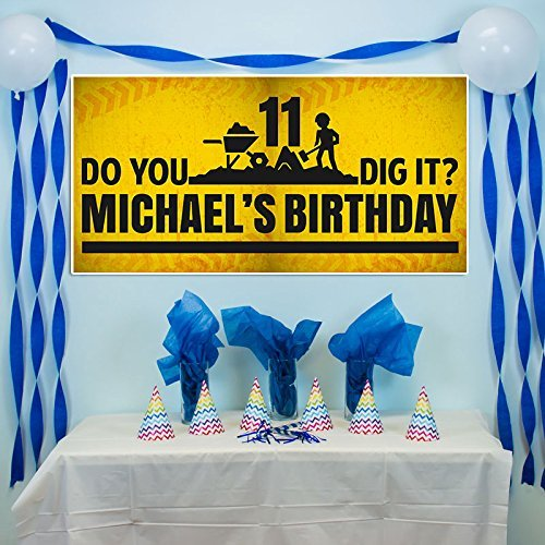 Construction Dig IT Birthday Banner Party Decoration Backdrop