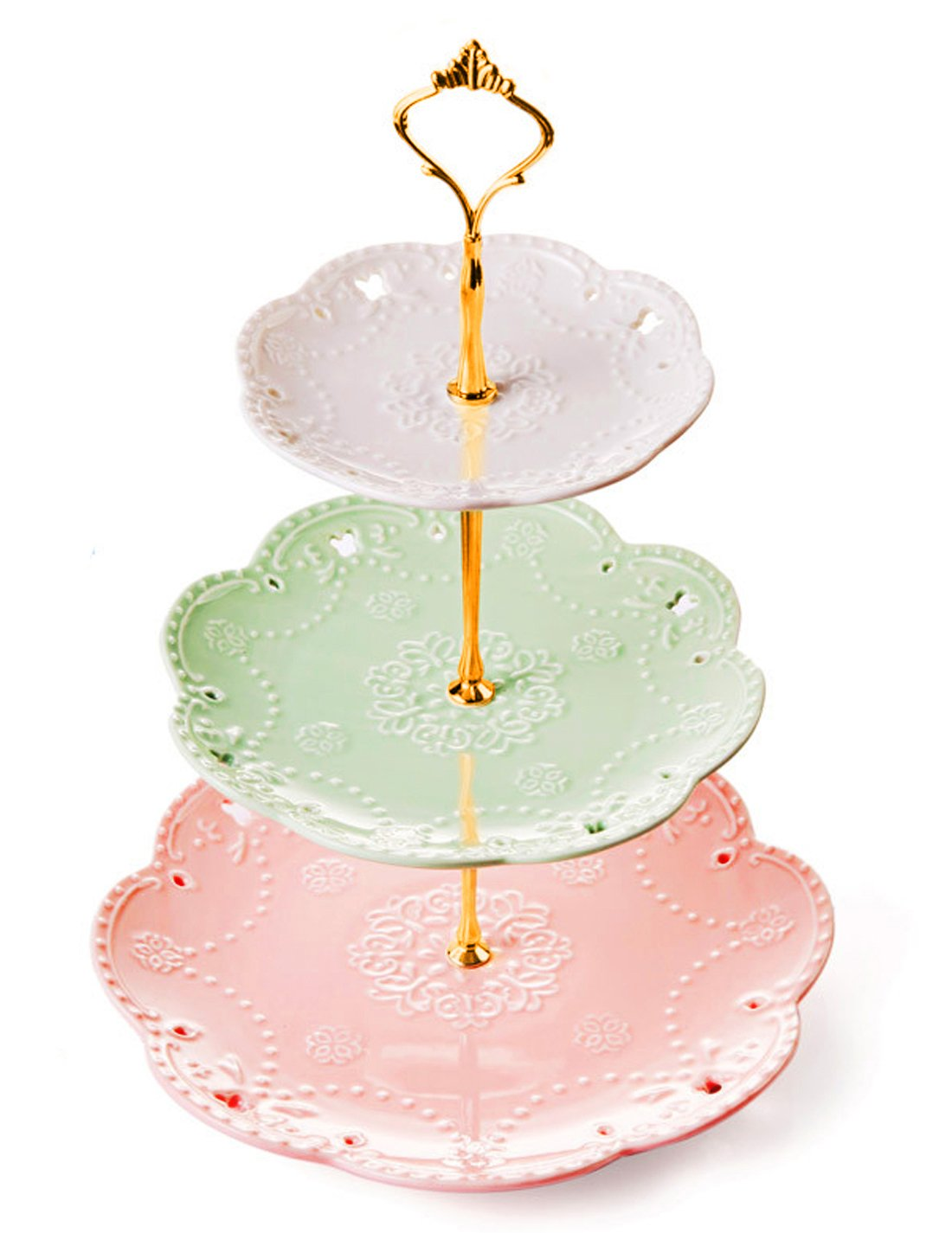 Jusalpha 3-tier Ceramic Cake Stand-Dessert Stand-Cupcake Stand-Tea Party Serving Platter (Gold)