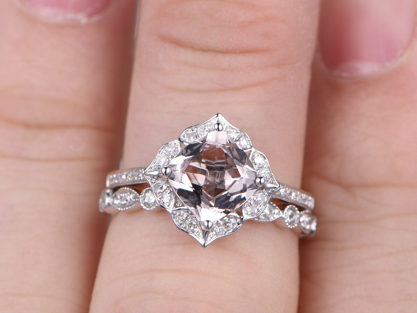 Amazon.com: 2pcs Morganite Engagement Ring Sets,7x7mm Cushion Cut ...