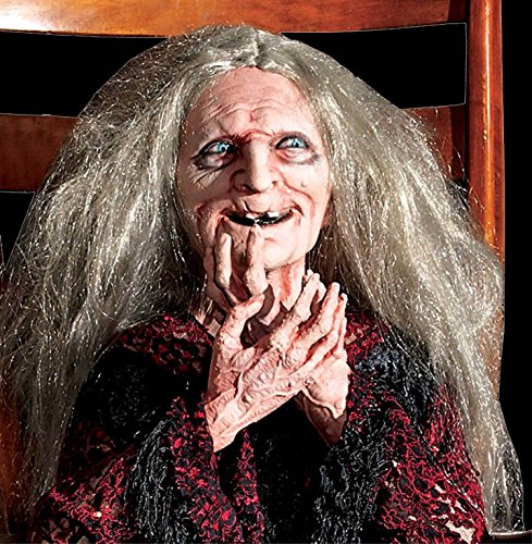 LifeSize Animated ROCKING LAUGHING GRANNY HAG WITCH-Haunted House Halloween Prop]()