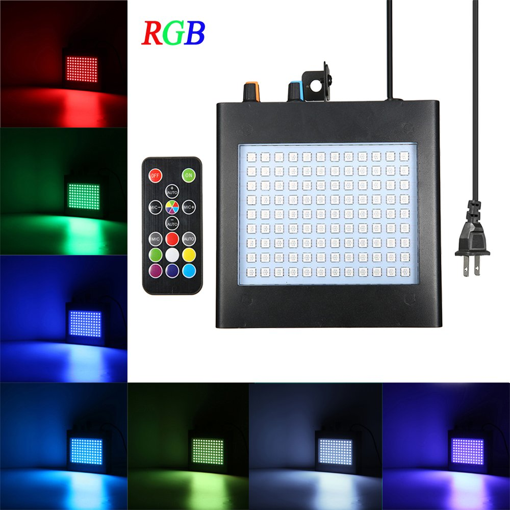 Party Lights, SOLMORE 25W 108 RGB LED Strobe Lights Auto Sound Activated DJ Party Lights Adjustable Flash Speed Control with Remote Control for Stage Lighting Wedding Show Club Pub Parties by SOLMORE