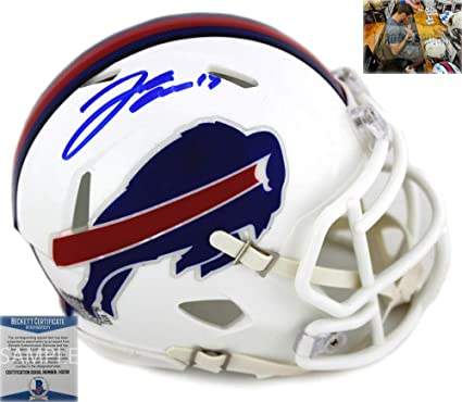 Josh Allen Autographed Signed Buffalo Bills Mini NFL Color Rush Speed Helmet 37f3d8b79